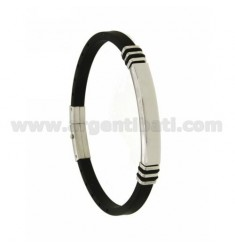 BRACELET IN STEEL AND BLACK RUBBER 5 MM WITH PLATE