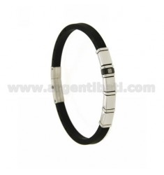 BRACELET IN STEEL AND BLACK RUBBER 5 MM WITH RUTHENIUM PLATED ELEMENT AND ZIRCON