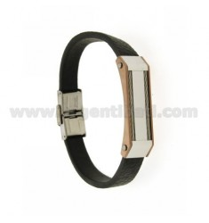 BRACELET IN BLACK LEATHER SKIN EFFECT WITH STEEL INSERTS INSERTS WITH ROSE GOLD PLATED