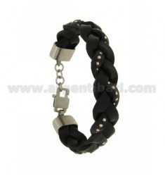 BRACELET LEATHER BRAID 15 MM WITH BLACK DOTS IN CLOSING AND STEEL