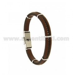 8 MM BROWN LEATHER BRACELET WITH A TENNIS CENTRAL STEEL