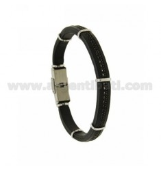 8 MM BLACK LEATHER BRACELET WITH A TENNIS CENTRAL STEEL