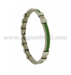 Hinged BRACELET WITH STEEL INSERTS IN ply OF BRASS AND GOLD AND GREEN FABRIC