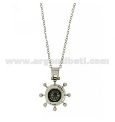 A STEERING COMPASS PENDANT WITH CHAIN &8203&8203IN STEEL CABLE 50 CM