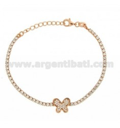 TENNIS BRACELET WITH BUTTERFLY AND ZIRCONIA IN ROSE GOLD PLATED AG TIT 925 CM 17.20