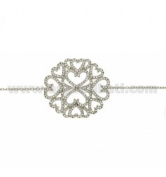 CABLE BRACELET WITH CENTRAL WITH PAVE &39OF ZIRCONIA IN AG TIT RHODIUM 925 ‰ CM 16.18