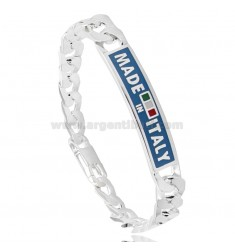 CURB BRACELET WITH PLATE 9 MM &quotMADE IN ITALY&quot IN AG TIT 925 CM 22 WITH ENAMEL WITH LIGHT BLUE BACKGROUND