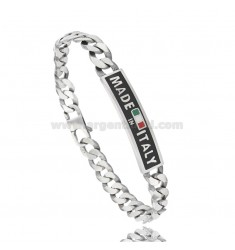 CURB BRACELET WITH PLATE 9 MM &quotMADE IN ITALY&quot IN AG BURNISHED TIT 925 CM 22 WITH ENAMEL BACKGROUND BLACK