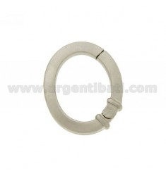 CLOSURE SMARTER OVAL 28x24 MM 3.5 MM SQUARE BARREL IN SATIN AND RHODIUM AG TIT 925 ‰
