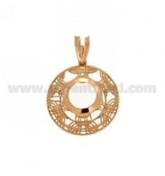 Colgante redondo MM 22 MM CON CASTONE 10 electro plateado ROSE GOLD TIT 925