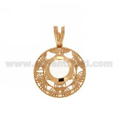 PENDANT ROUND MM 22 MM WITH CASTONE 10 electro.PLATED SILVER ROSE GOLD TIT 925