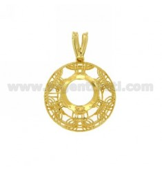 PENDANT ROUND WITH 22 MM 10 MM CASTONE SILVER GOLD PLATED Arcbound TIT 925
