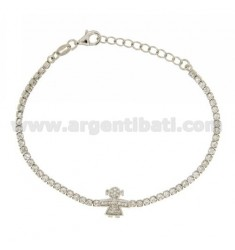 TENNIS BRACELET WITH GIRL AND ZIRCONIA IN RHODIUM AG TIT 925 CM 17.20