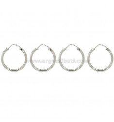2 PAIRS EARRINGS CIRCLE coredrill 20 MM SILVER RHODIUM TIT 925 ‰