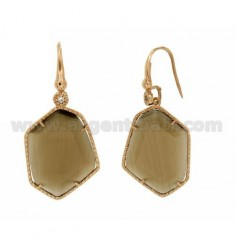 EARRINGS WITH LOVE AND ZIRCONE HEXAGON IRREGULAR WITH BIG STONE HYDROTHERMAL COLOR PEARL TORRONCINO 40P IN AG TIT PLATED ROSE GO