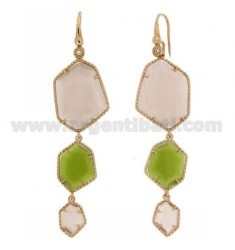EARRINGS WITH LOVE AND ZIRCONE HEXAGON DEGRADE IRREGULAR WITH STONE HYDROTHERMAL LILAC COLOR PEARL PEARL PERIDOTT 9P 29P AND GRE
