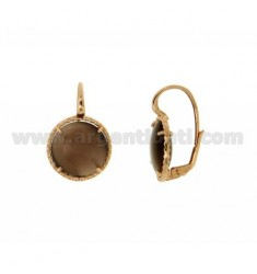 Earrings MONACHELLA ROUND 16 MM WITH HYDROTHERMAL STONE BROWN PEARL 68P IN ROSE GOLD PLATED AG TIT 925