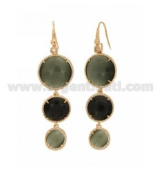 EARRINGS MONACHELLA LOVE WITH ZIRCONE DEGRADE ROUND WITH HYDROTHERMAL STONE GRAY AND BLACK PEARL PEARL 51P 7P IN ROSE GOLD PLATE