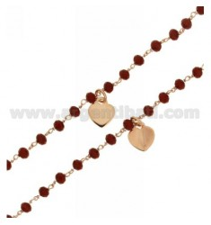NECKLACE 80 CM WITH BALLS RED STONE 4 MM AND HEARTS ENAMEL RED ROSE GOLD PLATED AG TIT 925