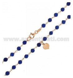 NECKLACE 80 CM WITH BALLS BLUE STONE 4 MM AND HEARTS ENAMEL BLUE ROSE GOLD PLATED AG TIT 925