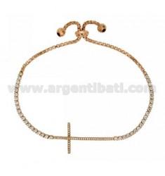 Tennis Armband mit Swarovski KREUZ UND LOOP Schließung im rosé vergoldet AG TIT 925