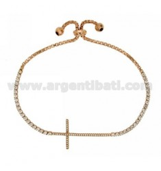 TENNIS BRACELET WITH SWAROVSKI CROSS AND LOOP CLOSURE IN ROSE GOLD PLATED AG TIT 925