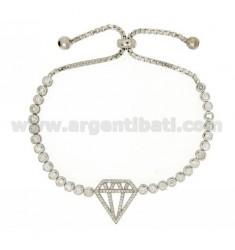 CIPOLLINO DIAMOND TENNIS BRACELET WITH SWAROVSKI AND LOOP CLOSURE IN RHODIUM TIT AG 925