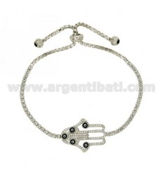 TENNIS BRACELET WITH SWAROVSKI FATIMA HAND AND NAIL IN THE LOOP CLOSURE AG RHODIUM TIT 925