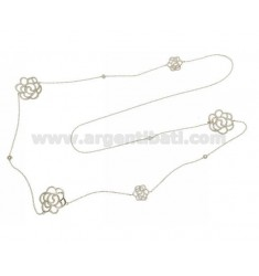 CABLE LACE NECKLACE CM 80 WITH ALTERNATE ROSES WITH ZIRCONS IN AG RHODIUM TIT 925 ‰