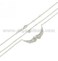 CABLE NECKLACE 45 CM WITH WINGS WITH SWAROVSKI AG RHODIUM IN TITLE 925 ‰