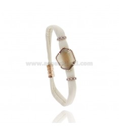 LEATHER BRACELET IVORY ALLEN IRREGULAR WITH STONE HYDROTHERMAL AND MAGNETIC CLOSURE IN ROSE GOLD PLATED AG TIT 925
