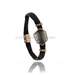 BRACELET BLACK LEATHER WITH HEXAGON IRREGULAR WITH STONE HYDROTHERMAL AND MAGNETIC CLOSURE IN ROSE GOLD PLATED AG TIT 925