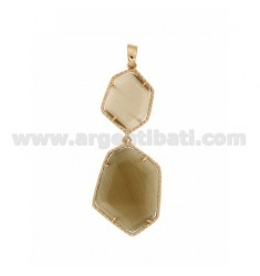 PENDANT DOUBLE HEXAGON IRREGULAR WITH STONES HYDROTHERMAL COLOR GREEN AND BROWN PEARL TORRONCINO PEARL 54P 68P IN AG TIT PLATED