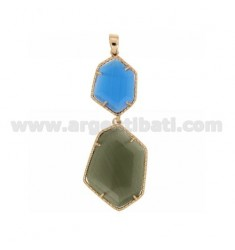 PENDANT DOUBLE HEXAGON IRREGULAR WITH STONES HYDROTHERMAL COLOR GREEN COBALT BLUE PEARL AND PEARL GREY 65P 51P IN AG TIT PLATED