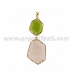 PENDANT DOUBLE HEXAGON IRREGULAR WITH STONES HYDROTHERMAL COLOR GREEN PEARL PERIDOTT 9P 29P AND LILAC PEARL IN AG TIT PLATED ROS