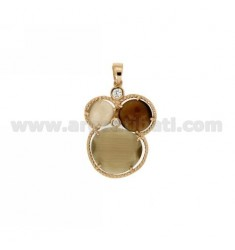3 ROUND PENDANT WITH BROWN HYDROTHERMAL STONES, TORRONCINO AND SMOKED PEARL AND ZIRCONIA IN AG ROSE GOLD PLATED TIT 925 ‰