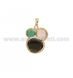 3 ROUND PENDANT WITH STONES HYDROTHERMAL GRAY, GREEN AND LILAC PEARL AND ROSE GOLD PLATED ZIRCONIA IN AG TIT 925 ‰