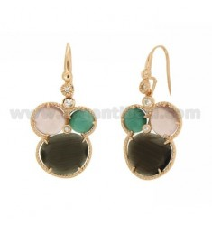 EARRINGS 3 ROUND WITH STONES HYDROTHERMAL GRAY, GREEN AND LILAC PEARL AND ROSE GOLD PLATED ZIRCONIA IN AG TIT 925