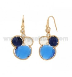 EARRINGS 3 ROUND WITH STONES HYDROTHERMAL COBALT BLUE, WHITE AND BLUE PEARL AND ROSE GOLD PLATED ZIRCONIA IN AG TIT 925