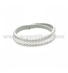 BRACELET LEATHER DOUBLE ROUND WHITE WITH CRYSTAL AND CLOSING IN STEEL