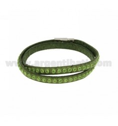 BRACELET LEATHER DOUBLE ROUND GREEN GRASS WITH CRYSTAL GREEN AND CLOSING IN STEEL
