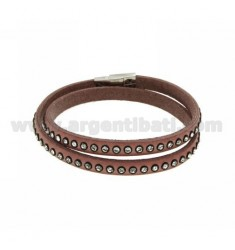 BRACELET LEATHER DOUBLE ROUND PINK RHINESTONE AND CLOSING IN STEEL