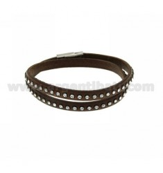 BRACELET LEATHER DOUBLE ROUND BROWN RHINESTONE AND CLOSING IN STEEL