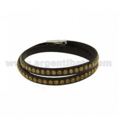 BRACELET LEATHER DOUBLE ROUND BROWN WITH STRASS GOLD AND CLOSING IN STEEL