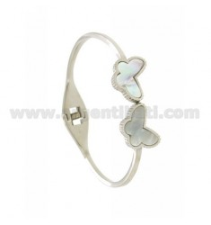 ARMBAND STAHL MIT BLUME IN PEARL