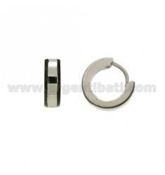 Earrings CERCHIETTO snap DIAMETER 13 MM 4 BARREL STEEL WITH BOARD PLATED RUTENIO