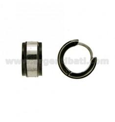 Earrings CERCHIETTO snap DIAMETER 14 MM 7 BARREL STEEL WITH BOARD PLATED RUTENIO