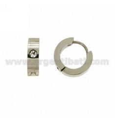 Earrings CERCHIETTO snap DIAMETER 14 MM 4 BARREL STEEL WITH STRASS