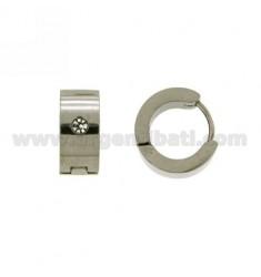 Earrings CERCHIETTO snap DIAMETER 14 MM 6 BARREL STEEL WITH STRASS