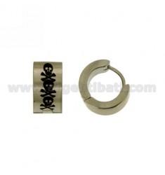 Earrings CERCHIETTO snap DIAMETER 14 MM 6 BARREL STEEL SATIN WITH SKULLS